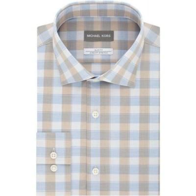 マイケル コース Michael Kors メンズ シャツ トップス Airsoft Slim-Fit Performance Stretch Check Dress Shirt Taupe