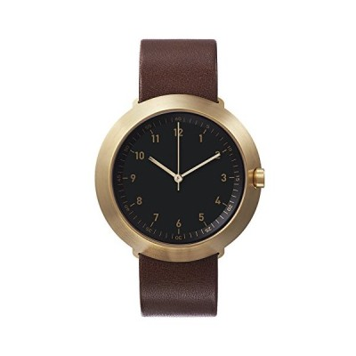 "Normal Timepieces""Fuji"" Brushed INOX Steel IP Gold Black Leather Brown Men's Watch 並行輸入品"