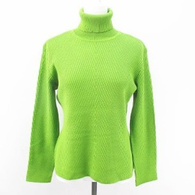 【中古】レオナール LEONARD 長袖 ニット セーター タートルネック 絹 シルク L 黄緑 ライトグリーン 日本製 リブ 毛