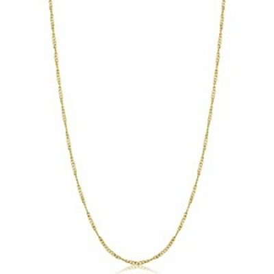 Kooljewelry Yellow Gold Plated Sterling Silver Twisted Curb Chain Necklace (1 mm, 14 inch)