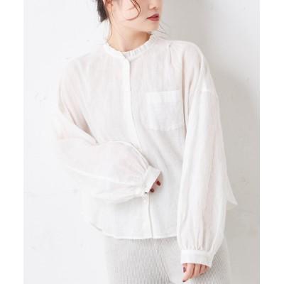 綿ポリウレタンシャーリング襟フリルブラウス