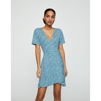 プルアンドベア レディース ワンピース トップス Pull&Bear frill edge wrap dress in blue floral Blue