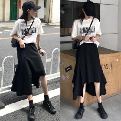 アシンメトリー スカート 韓国 ファッション レディース 夏服 スカート フィッシュテール スカート カットデザイン 揺れ感 モード 個性的