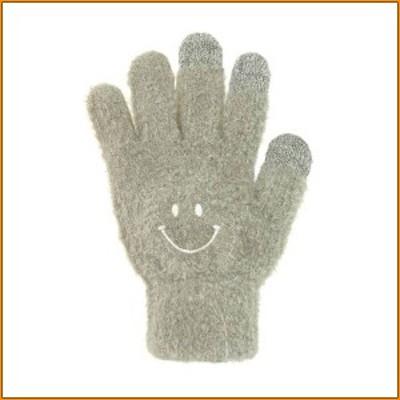 スマホ手袋 スマイル グレー 17318631046 ▼シンプルデザインのもふもふスマホ手袋