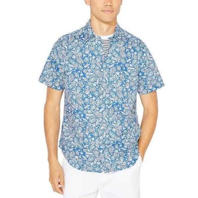 ナウティカ シャツ トップス メンズ Men's Blue Sail Tropical Floral-Print Shirt, Created for Macy's True Blue