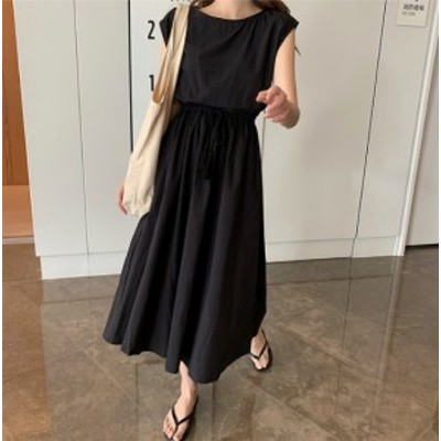 S~2XLサイズ 綿麻混合ワンピース ウエストマーク 春夏 上品 大人っぽい きれいめコーデ ミモレ丈 ゆったり 韓国ファッション K0363
