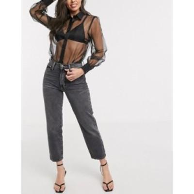 リバーアイランド レディース デニムパンツ ボトムス River Island peg jeans in washed black Washed black