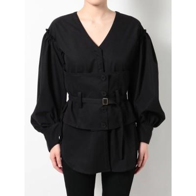 EMODA コルセットマークシャツ(ブラック)