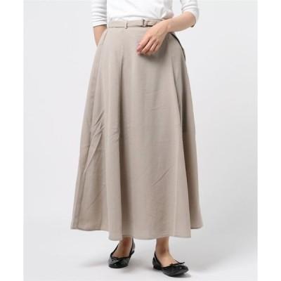 スカート ガーゼベルト付きフレアロングスカート