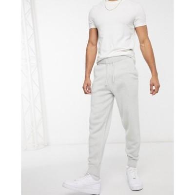 エイソス メンズ カジュアルパンツ ボトムス ASOS DESIGN knit textured sweatpants in light gray