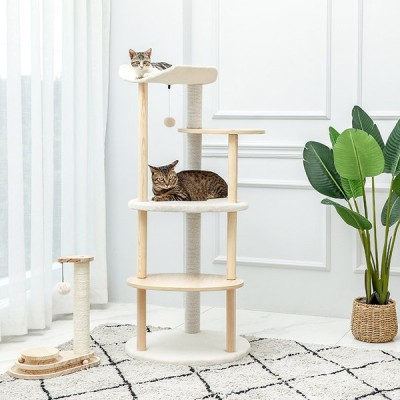 送料無料 キャットタワー 木製 木目調猫タワー 据え置き おしゃれ 爪とぎポール ネコ 猫用 多頭飼い 上りやすい 安定性抜群 小型猫 大型猫 高さ124.5cm