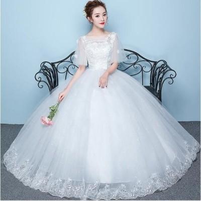 店長お勧め ウエディングドレス ロングドレス 結婚式 お花嫁 白 ホワイト パーティードレス 二次会 ドレス エンパイアライン 姫系ドレス
