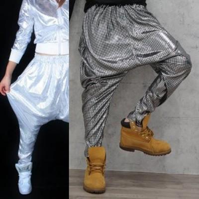 半額セール  ダンス 衣装 スパンコール風 ホログラム ダンスパンツ ヒップホップ ブラック ホワイト ネコポス可