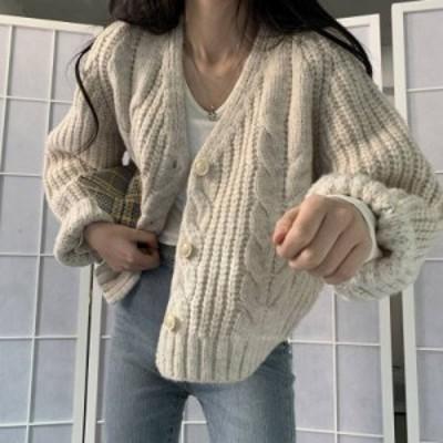 2色 ニットカーディガン ケーブル ざっくり ローゲージ アイボリー ブラウン レディース ファッション 韓国 オルチャン