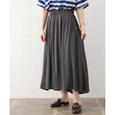 スカート サイドボタンレーヨンイージースカート∴