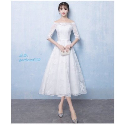パーティードレス 結婚式 ドレス パーティー 大人 卒業式 白ドレス 袖あり ウェディングドレス ロングドレス 演奏会 上品 お呼ばれ オフショルダー ドレス