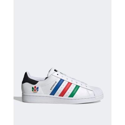 アディダスオリジナルス レディース スニーカー シューズ adidas Originals Superstar Oympics sneakers in white White