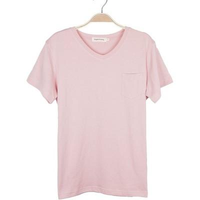 (キンコン)Kinkong レディース 半袖 プルオーバー 無地 綿 夏 トップス,ピンク,M