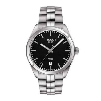 ティソ 腕時計 New Tissot PR 100 Black Dial Stainless Steel メンズ Watch T101.410.11.051.00