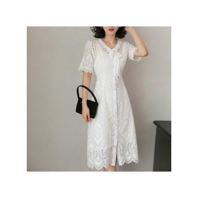透け感レース リボン パーティードレス フレアスカート ひざ丈 レディース ワンピース お呼ばれドレス kh-0636