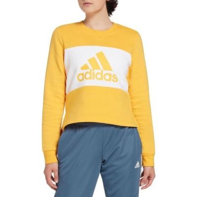 アディダス adidas レディース スウェット・トレーナー トップス Postgame Crew Sweatshirt Active Gold/White