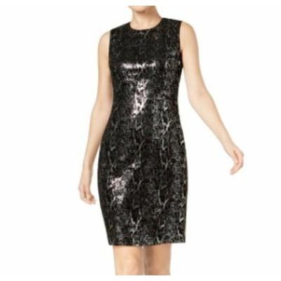 Calvin Klein カルバンクライン ファッション ドレス Calvin Klein NEW Black Womens Size 6P Petite Sequined Sheath Dress