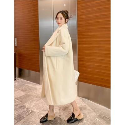 見た目カワイイ💋マタニティウェア 韓国版 新品 厚手  ミンクフリース 暖かさ チェスターコート おしゃれな 快適である シンプル 中・長セクション ゆったりする