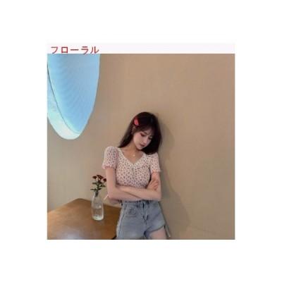 【送料無料】小さな花柄 ステッチレース ミニ丈 半袖 シャツ トップス 女 | 364331_A63337-4626369