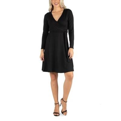 24セブンコンフォート ワンピース トップス レディース Women's Knee Length Long Sleeve Wrap Dress Black