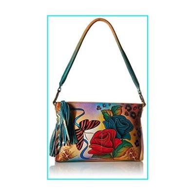 Anna by Anuschka?Women's Genuine Leather Multi-Compartment Satchel | Hand-Painted Original Artwork |Rose Safari【並行輸入品】