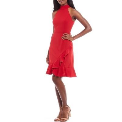 ドナモーガン レディース ワンピース トップス Scuba Crepe Mock Neck Sleeveless Ruffle Front Sheath Dress Red