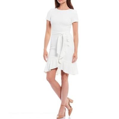 カルバンクライン レディース ワンピース トップス Short Sleeve Ruffle Tulip Hem Belted Dress Cream