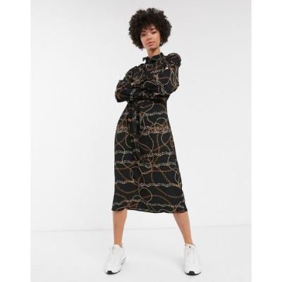 モンキ ミディドレス レディース Monki chain print mini dress with pussy bow neck in black エイソス ASOS ブラック 黒