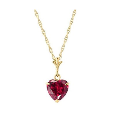 """Galaxy Gold GG 1.45 ct 14k 16"""" Solid Gold Necklace Heart-shaped Ruby送料無料"""