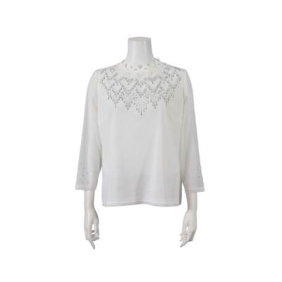 Liliane Burty/リリアンビューティ チュール×レース刺繍 ハイネックTシャツ ホワイト LL