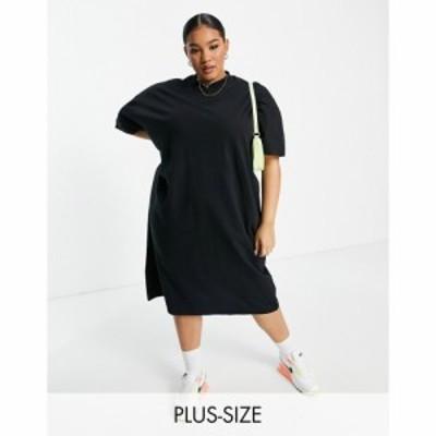 コルージョン Collusion レディース ワンピース Tシャツワンピース ワンピース・ドレス Plus midi t-shirt dress in black ブラック