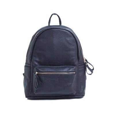 Big Handbag Shop Unisex Vegan Leather Medium Size Backpack Rucksack Shoulder Bag (Design 1 - Navy)【並行輸入品】