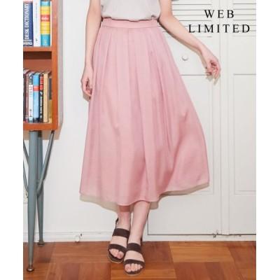 L size ONWARD(大きいサイズ)/エルサイズオンワード 【WEB限定色あり】洗えるブライトスパンボイル スカート [WEB限定]ピンク系 T15