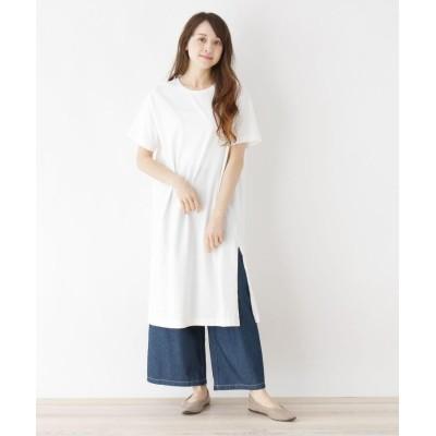 ZAMPA(ザンパ) スリット入りコットンロングTシャツ