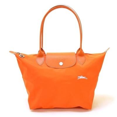 ロンシャン トートバッグ レディース LONGCHAMP ロゴ刺繍 折りたたみ オレンジ