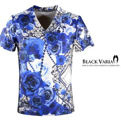 BlackVaria Tシャツ 薔薇柄 花柄 バラ チェーン柄 総柄 Vネック 半袖Tシャツ(ブルー青) bv09