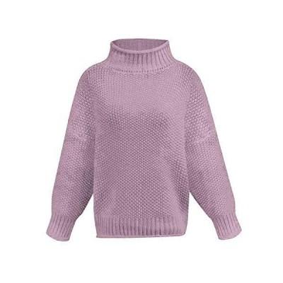 Coat Women's Fashion Jacket Solid Pullover Pullover Warm Outwear(Purple,L)並
