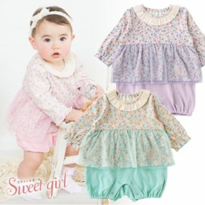 ベビー服 赤ちゃん 服 ベビー カバーオール 女の子 70 80 出産準備    *スウィートガール*重ね着風小花柄長袖カバーオール