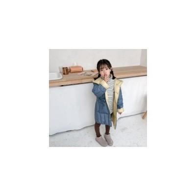 ダウンジャケットキッズダウンコート中綿コート子供服女の子アウターボタンジャケット軽量保温性配色切替カラーフード付き女