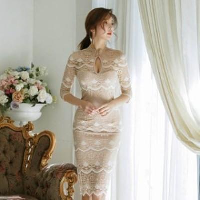 パーティードレス 結婚式 二次会 ワンピース 大きいサイズ 総レースパーティードレス 黒 タイト ひざ丈 七分袖 お呼ばれ