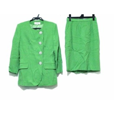 ハーディエイミス HARDY AMIES スカートスーツ サイズ9 M レディース ライトグリーン 肩パッド/ラインストーン【中古】20200402