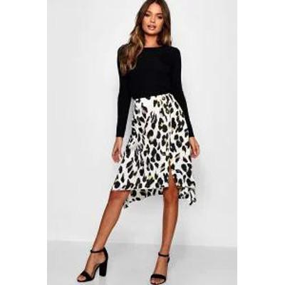 Boohoo レディーススカート Boohoo Satin Leopard Print Button Split Midi Skirt ivory