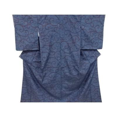 宗sou 唐草模様織り出し手織り真綿紬着物【リサイクル】【着】