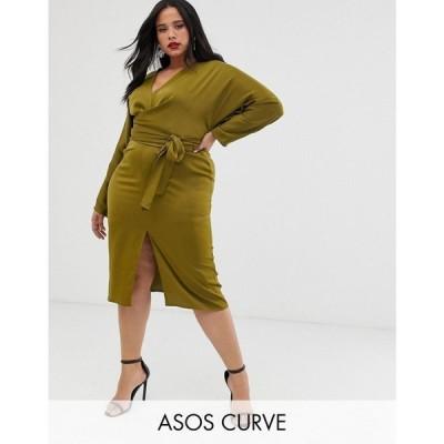 エイソス ASOS Curve レディース ワンピース ワンピース・ドレス ASOS DESIGN Curve midi dress with batwing sleeve and wrap waist in satin Olive
