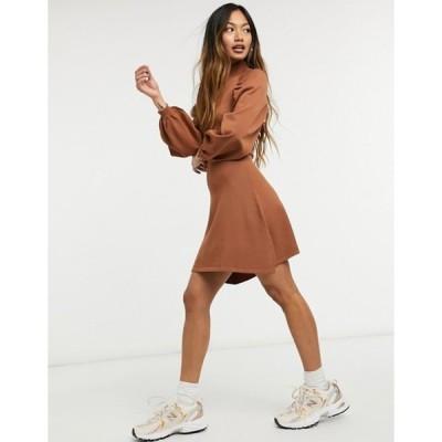 エイソス レディース ワンピース トップス ASOS DESIGN knitted fit and flare dress with pleat sleeve detail in camel